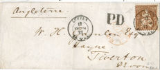 Switzerland - Letter from Lucerne to England dated 17 August 1864, with 60 centesimi 1862