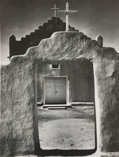 Ansel Adams (1902-1984) - Church, Taos Pueblo, 1942 / Foutain Geyser Pool, Yellowstone National Park