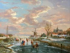 Albertus J. Temming (born 1942) - Dutch winter landscape of a village near a river with a mill