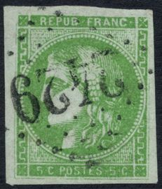 France 1870 – Cérès Bordeaux 5c green-yellow cancelled Montauban 2429 – Yvert no. 42B