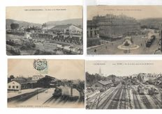 Lot with 51 postcards of railway and tramway stations