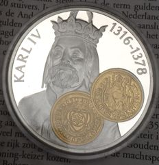 "Netherlands Antilles - 10 guilder trading coin 2001 ""Rhenish guilder - Charles IV"" - 925/1000 silver with gold inlay"