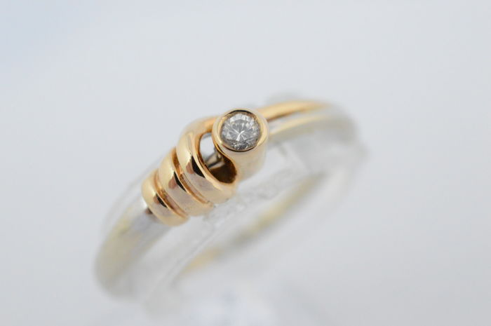 14 kt White gold ring with diamond - Ring size: 53 (diameter: 17 mm) | no minimum price