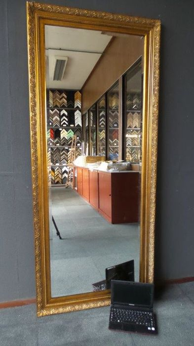 Extremely large and wide mirror with facet cut glass - hand gilded -78 x 178 cm - Classic
