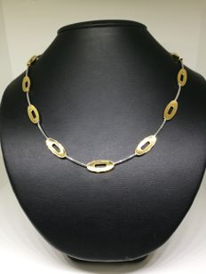 Solid 18/750 kt bicolour gold necklace - 40 cm