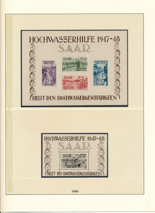 Saarland - 1947 - 1959 - complete collection with block 1 & 2 tested Ney BPP and OPD Saarbrücken and official stamps on Lindner album sheets.