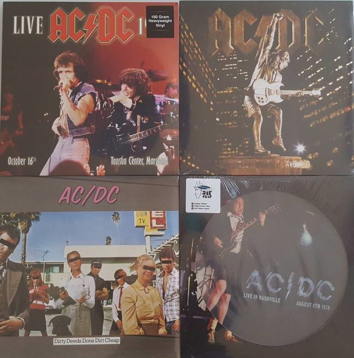 AC/DC - Lot of 5 LP (Four Albums)  /  Live 1979 - Towson Center, Maryland 2 x LP / Dirty Deeds Done Dirt Cheap LP /  Stiff Upper Lip LP /  Live In Nashville, August 8th 1978 Limited Edition Picture Disc / Sealed