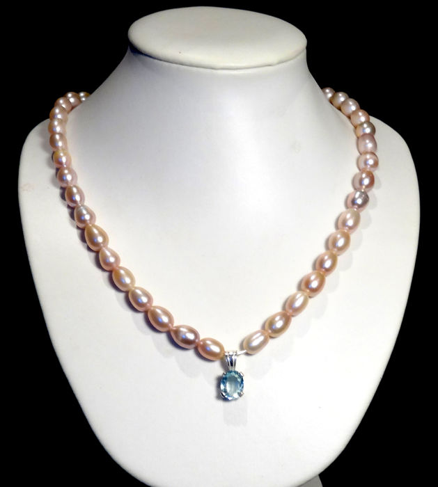 Pearl and aquamarine necklace of 2.33 ct, 925 silver clasp - necklace length: 47 cm