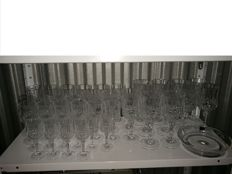 5 Sets of 10 antique wine glasses, from small to large, including champagne glasses