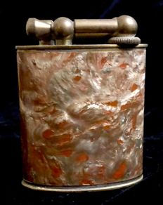 An amazing , early 20th Century , French , gasoline , table lighter , with seal of the Ministere of Finance of France