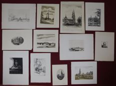 A. Wieringa - A. Doedijns - Unknown - Lot of 13 etchings