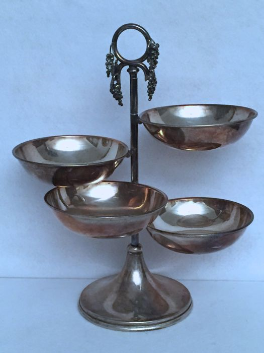 Silver appetizer stand / centrepiece, with four small bowls - Florence (Italy), 20th century