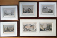 6 Original hand-coloured steel engravings/lithographs of Amsterdam from 1860, 1861 and 1862, enclosed in 5 frames