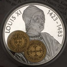 "Netherlands Antilles - 10 guilder trade coin 2001 ""Écu d'or au soleil - Louis XI"" - 925/1000 silver with gold inlay"
