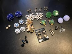 Large collection of vintage earrings Weiss, ciro, Coro and Trifari