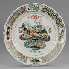 Antique 19C Chinese Porcelain Dish Plate Famille Verte Flower Basket - China - 19C