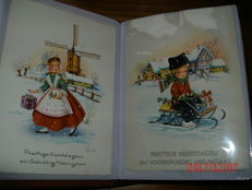Album with 100 x Christmas and happy new year, large and small format, period: 1930-1960 mostly from the Netherlands.