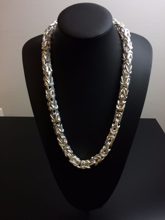 Silver king's braid necklace 925, weight: 461 g, length: 65 cm, width: 11 mm