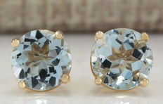 2.24 Carat Aquamarine 14K Solid Yellow Gold Stud Earrings - 7.00x7.00 mm *** Free Shipping *** No Reserve ***