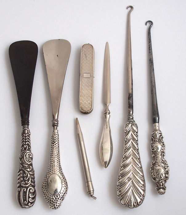 Small Lot of Silver Accessories Birmingham, London, England c 1890 - 1932