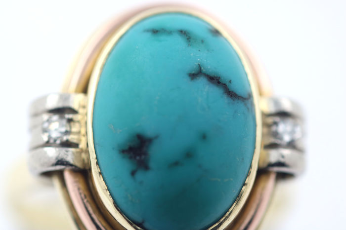 Tri-colour ring 585 / 14 kt gold with turquoise and diamonds 0.10 ct VVSI TW