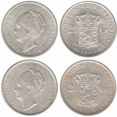 The Netherlands - 2½ guilder 1940 and 1943D Wilhelmina - silver