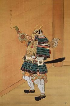 "Scroll painting ""Samurai writing on a gate"" signed and sealed EIKOU  英康 - Japan -  late 19th century"