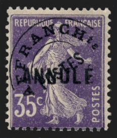 France 1930 – Precancelled Semeuse course of instruction 35c purple, signed BRUN – Yvert no. 62-C11