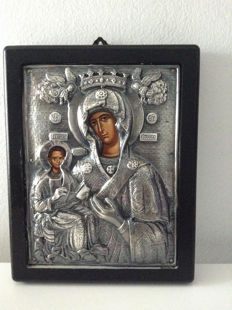 Silver icon 950/1000 - mother of god / Greece 2nd half of 20th century