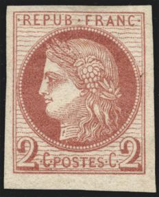 General Colonies 1872 – Cérès 2c red-brown, signed SCHELLER – Yvert no. 15
