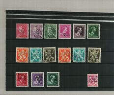 Belgium 1946 - Selection 'Van Acker' stamps with overprint '-10%'