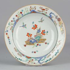 Antique Porcelain Plate Birds & Flowers Gold Bamboo - China - 18C