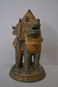 Bronze oriental lion sculpture - Thailand - end 20th century