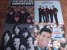 Nice Lot with 10 LP Albums of the Greatest UK artists of the Sixties: oa Beatles, Rolling Stones, Kinks, The Searchers, The Hollies,  Cliff Richard, Manfred Mann, The Who &Elton John