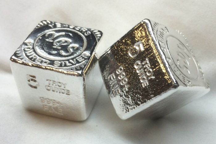 USA - YPS Silver cube - 5 oz silver - Hand-poured