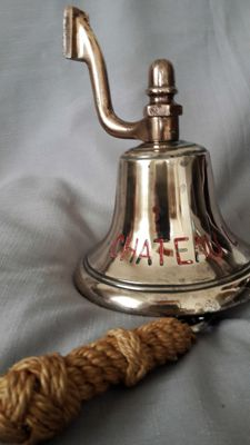 "Beautiful antique brass ship bell ''Chateau Lafaurie "" with wall holder"