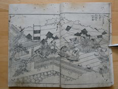 Two books from the biography of Toyotomi Hideyoshi ((絵本太功記, ehon taikouki), with 19 diptych and one single black and white woodblock prints, in total (woodcut artist Okada Gyokuzan) - Japan - 1799