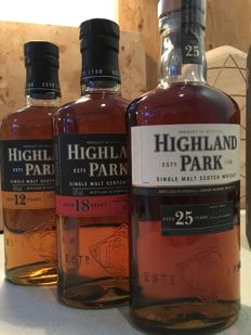 3 bottles - Highland Park 25YO, 18YO and 12YO