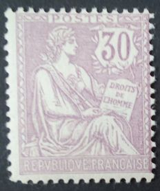 France 1902 – Mouchon, retouched, 30c purple - Yvert no 128