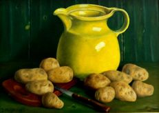 Jan Muijs (1925-2015) - Still life with potatoes, yellow jug and bread board