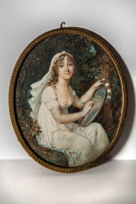 Attributed to Salomon Guillaume Counis (1785-1859), miniature on ivory plate with dedication, Italy, ca. 1820