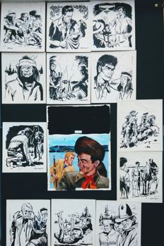 Copay, Willy - Lot of 13 original drawings - Les jeunes chasseurs de fourrures - (1962)