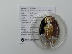 Cook Islands - 5 Dollars 2010 'St. Patrick' partially gold-plated with Swarovski stones - silver
