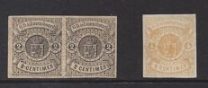 Luxembourg 1859 - Selection of Coat of arms stamps, imperforate - Michel 4 in pair and 5