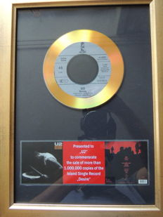 "Disc Gold Plated 45T Single U2 ""Desire"""