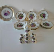 Chadelaud, French porcelain lot: Limoges imperial cake service and liqueur service in porcelain Paris