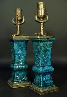 Pair of Chinese turquoise glaze vase lamp, Ca 1700 early Qing dynasty