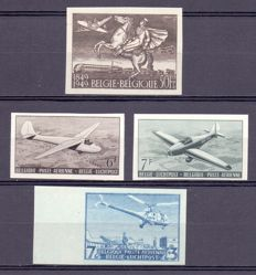 Belgium 1940/1955 - Selection of 4 imperforate airmail stamps