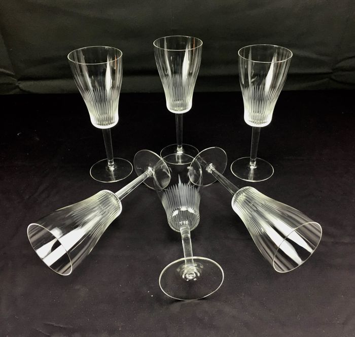 Antique set of 6 chalices in splendid cut crystal glass, Victorian model.