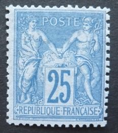 France 1876 - Sage 25 cents blue, signed Brun - Yvert no. 79